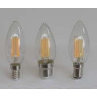 390 lumen, 4-watt LED filament candle bulb