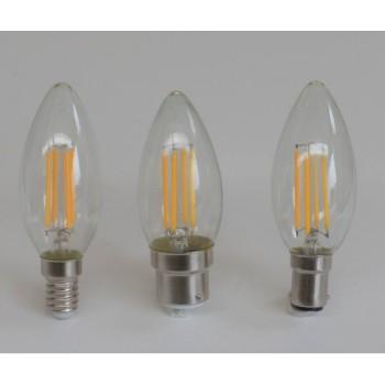 390 lumen, 4-watt LED filament candle bulb