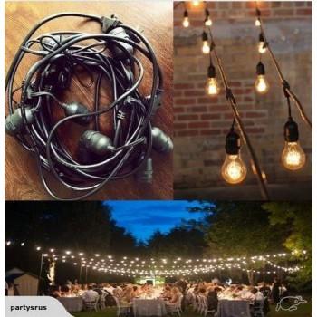 48 ft festoon string, 15 light sockets