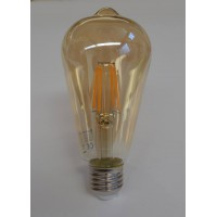 Decorative 4-watt teardrop LED filament lightbulb, gold tinted glass, 400 lumens