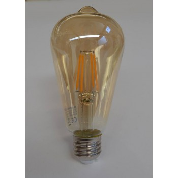 Decorative 4-watt teardrop LED filament lightbulb, gold tinted glass, 400 lumens